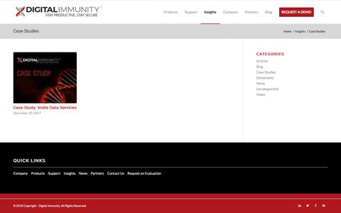 Screenshot of Case Studies Page digitalimmunity.com - Case Studies Archives | Digital Immunity - captured Oct. 19, 2018