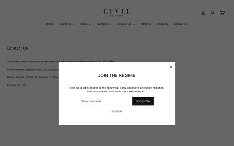 Screenshot of Contact Page civilclothing.com - Contact Us – Civil Regime - captured Nov. 8, 2018