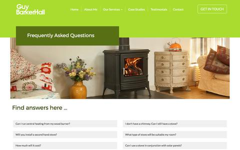 Screenshot of FAQ Page guybarkerhall.co.uk - Welcome to Guy Barker Hall - Chimney and Stove Services for Cornwall - 01209 712583 - captured Sept. 25, 2017