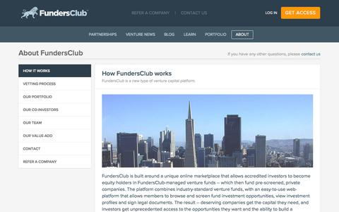 Screenshot of About Page fundersclub.com - How FundersClub Works | FundersClub - captured Sept. 16, 2014