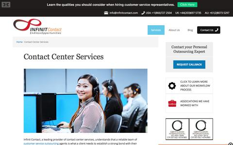 Screenshot of Services Page infinitcontact.com - Contact Center Services | ISO Certified | Infinit Contact - captured June 7, 2017