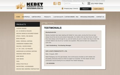 Screenshot of Testimonials Page kebet.com.au - Cardboard Packaging, Cardboard Boxes, Storage Cartons, Parts Boxes - captured Oct. 6, 2014