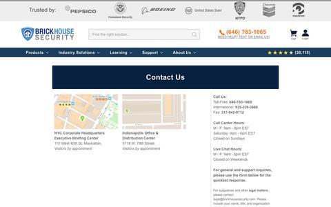 Screenshot of Contact Page brickhousesecurity.com - Contact Us - captured Nov. 14, 2019