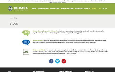 Screenshot of Blog humana-spain.org - HUMANA - Blogs - captured July 24, 2018