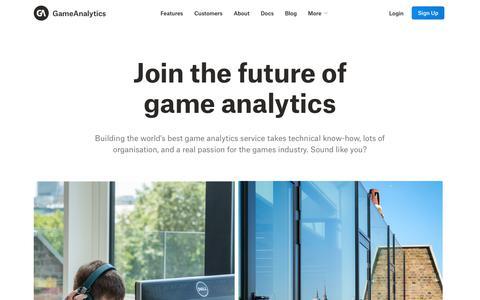 Screenshot of Jobs Page gameanalytics.com - Careers | Analytics Built for Games | GameAnalytics - captured Oct. 1, 2018