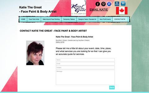 Screenshot of Contact Page katiethegreat.com - ContactKatie - captured Oct. 17, 2017