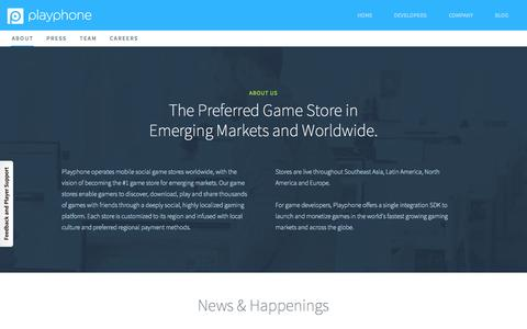 Screenshot of About Page playphone.com - About PlayPhone | Building the World's Leading Mobile Gaming Network - captured June 16, 2015