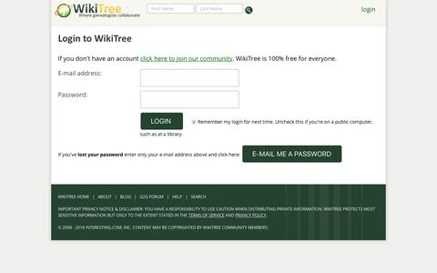 Screenshot of Login Page wikitree.com - Login to WikiTree - captured Sept. 20, 2018
