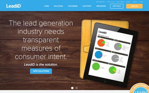 Screenshot of Home Page leadid.com - LeadiD | Understand and Optimize Consumer Intent - captured Oct. 26, 2015