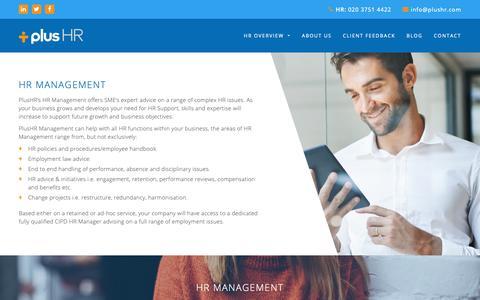 Screenshot of Team Page plushr.com - HR Management Services   HR Change Management   Strategic HR Management - captured Sept. 28, 2018