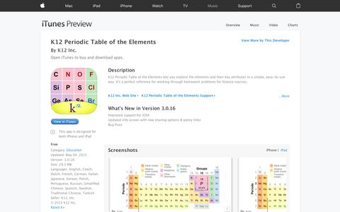 K12 Periodic Table of the Elements on the App Store