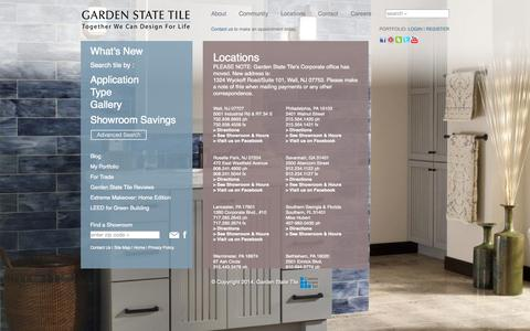 Screenshot of Locations Page gstile.com - Locations - Garden State Tile Design Centers - captured Sept. 24, 2014