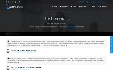 Screenshot of Testimonials Page customsoftwarelab.com - Custom Software Lab - Client Reviews & Testimonials - captured July 24, 2018