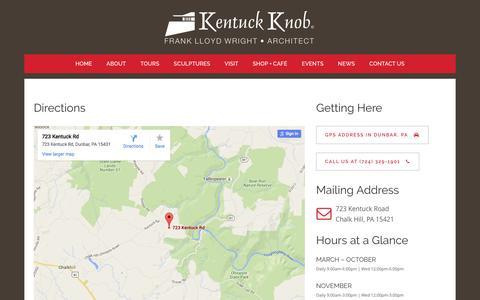 Screenshot of Contact Page kentuckknob.com - Kentuck Knob |   Contact Us - captured Feb. 10, 2016