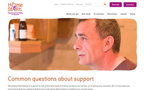 Screenshot of FAQ Page home-start.org.uk - Home Start | FAQs | Common questions about support - captured Aug. 29, 2017