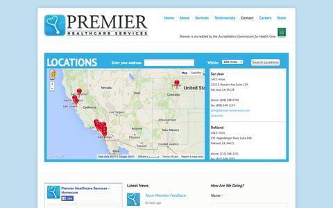 Screenshot of Contact Page premier-homehealth.com - Premier Healthcare Servives - captured Oct. 1, 2014