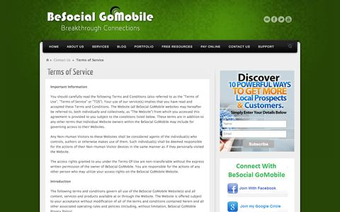 Screenshot of Terms Page besocialgomobile.com - Terms of Service | BeSocial GoMobile - captured Sept. 30, 2014