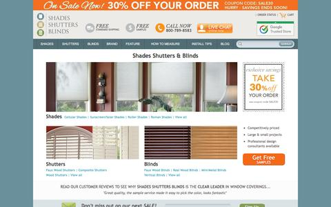 Screenshot of Home Page shadesshuttersblinds.com - Shades, Shutters, Blinds | Affordable Window Treatments - captured Feb. 22, 2016