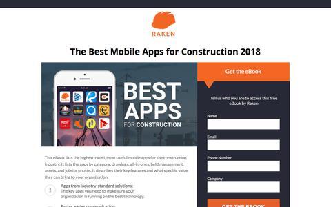Screenshot of Landing Page rakenapp.com - 2018 Best Mobile Construction Apps - captured Sept. 19, 2018