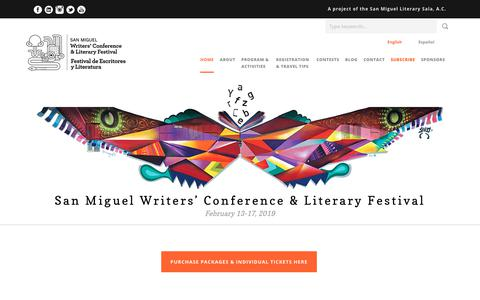 Screenshot of Home Page sanmiguelwritersconference.org - San Miguel Writers' Conference & Literary Festival - San Miguel Writers' Conference - captured Nov. 5, 2018