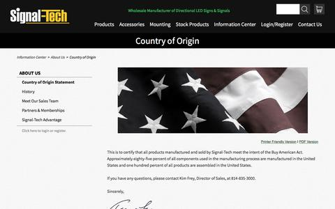 Country of Origin | About Us | Signal-Tech
