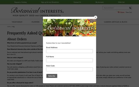 Screenshot of FAQ Page botanicalinterests.com - Botanical Interests High Quality Seeds and Garden Products - captured Oct. 6, 2018
