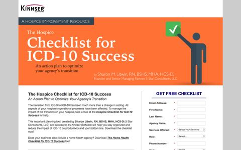 Screenshot of Landing Page kinnser.com - Free Action Plan | Hospice Checklist for ICD-10 - captured Aug. 20, 2016