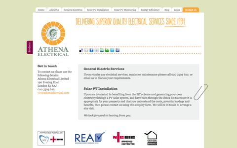 Screenshot of Contact Page Terms Page athenaelectrical.com - Get in touch – install a Solar PV system and benefit from the FiT scheme - captured Oct. 25, 2014