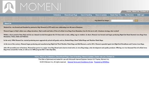 Screenshot of About Page momeni.com - Momeni :: Genuine Handmade & Area Rugs About Us - captured Sept. 24, 2014