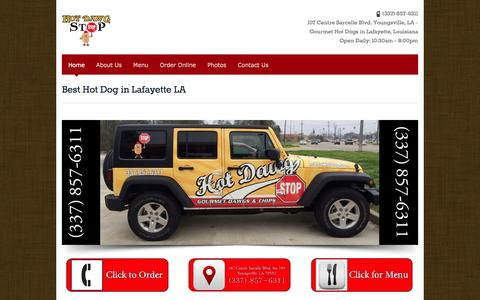Screenshot of Home Page hotdawgstop.com - Best Hot Dog in Lafayette LA - Hot Dawg StopHot Dawg Stop Lafayette, LA | Best Hot Dogs in Lafayette, LA - captured Oct. 3, 2014