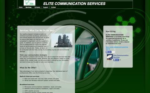 Screenshot of Services Page elitecoms.com - Services - ELITE COMMUNICATION SERVICE - captured Oct. 2, 2014