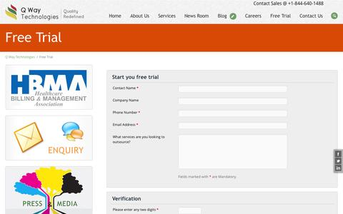 Screenshot of Trial Page qwaytechnologies.com - Start your free trial - captured Oct. 10, 2014