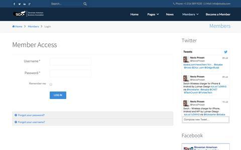 Screenshot of Login Page sloaba.com - Member Access - SABA - Slovenian American Business Association - captured Oct. 6, 2014