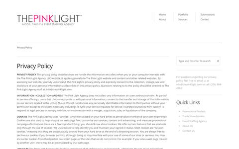 Screenshot of Privacy Page thepinklight.com - PRIVACY // The Pink Light Agency - captured Oct. 26, 2014