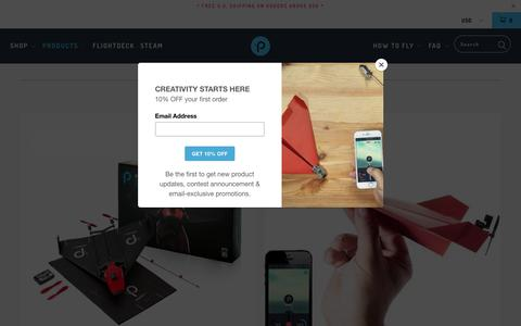 Screenshot of Products Page poweruptoys.com - POWERUP - Smartphone Controlled Paper Airplane Kits - PowerUp Toys - captured Oct. 18, 2018