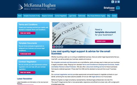 Screenshot of Home Page mckennahughes.co.uk - Small Business Legal Advice, Services and Template Contracts - McKenna Hughes - captured Oct. 6, 2014