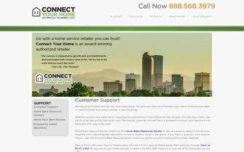 Screenshot of Support Page connectyourhome.com - Customer Support | Connect Your Home - captured Sept. 19, 2014