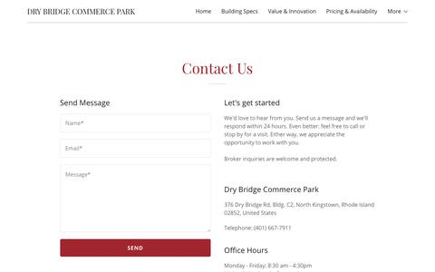 Screenshot of Contact Page drybridgecommercepark.com - Contact Us | Dry Bridge Commerce Park - captured Aug. 8, 2018