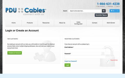 Screenshot of Login Page pducables.com - Customer Login - captured Dec. 5, 2015
