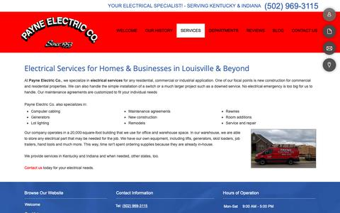 Screenshot of Services Page payneelectricco.com - Our Services | Payne Electric Co. | Louisville, Kentucky - captured Sept. 27, 2018
