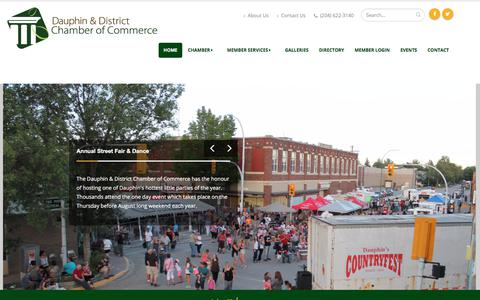 Screenshot of Home Page dauphinchamber.ca - Dauphin Chamber of Commerce - captured Oct. 12, 2017