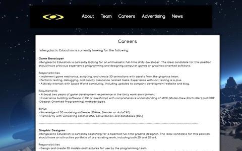 Screenshot of Jobs Page intergalacticeducation.com captured Nov. 3, 2014