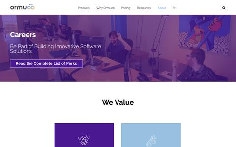 Screenshot of Jobs Page ormuco.com - Ormuco Careers - Be Part of Building Innovative Software Solutions - captured June 12, 2019