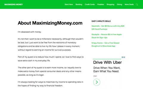 Screenshot of About Page maximizingmoney.com - MaximizingMoney.com offers tips and opportunities to save and earn more money. - captured Oct. 17, 2017
