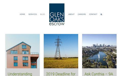 Screenshot of Blog glenoaksescrow.com - News & Media - Glen Oaks Escrow - captured June 14, 2019