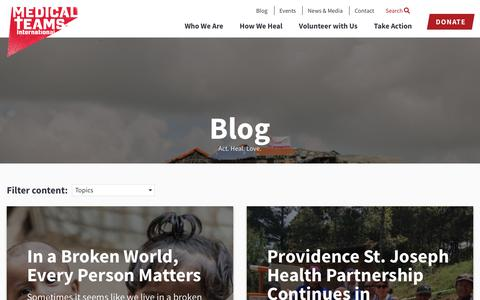 Screenshot of Blog medicalteams.org - Blog | Medical Teams International - captured Oct. 17, 2018