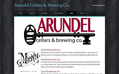 Screenshot of Menu Page arundelcellars.com - Menu - Arundel Cellars & Brewing Co. - captured Nov. 21, 2016