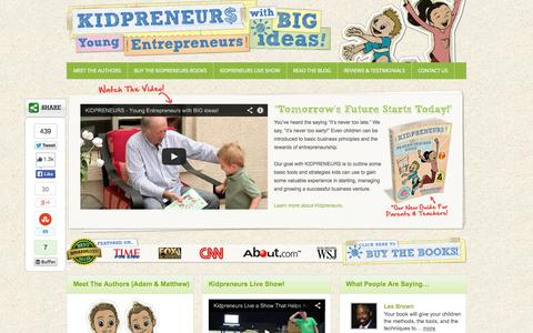 Screenshot of Home Page kidpreneurs.org - KIDPRENEURS - Entrepreneurship for Kids — Young Entrepreneurs with BIG ideas! - captured Oct. 6, 2014