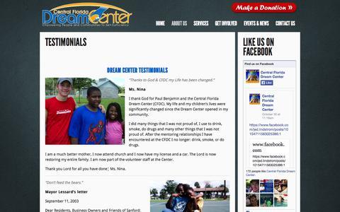 Screenshot of Testimonials Page cfdreamcenter.org - Central Florida Dream Center  » Testimonials - captured Nov. 1, 2014