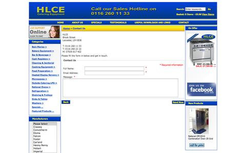 Screenshot of Contact Page hlce.co.uk - Contact Us : HLCE Catering Equipment, Complete Catering Equipment Specialist - captured Sept. 26, 2014